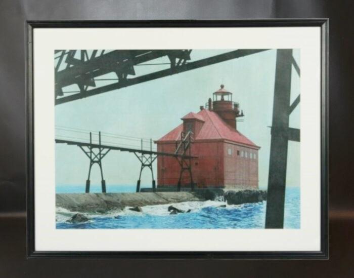 "Sally Gauger Jensen (American, 20th - 21st C.). ""Old Sturgeon Bay Pier Headlight, WI"