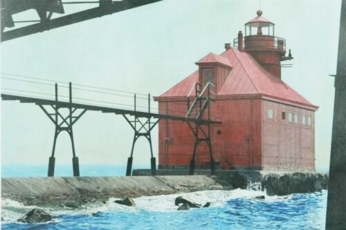"Sally Gauger Jensen (American, 20th - 21st C.). ""Old Sturgeon Bay Pier Headlight, WI"