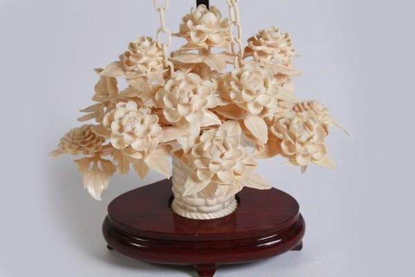 Carved Ivory Floral Basket, Japanese, 20th C.