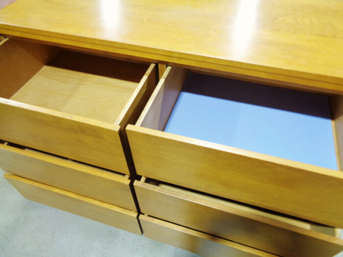 Conant Ball - six-drawer maple dresser with mirror.