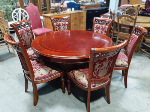 Six-Chair Cherry-Stained Dining Set