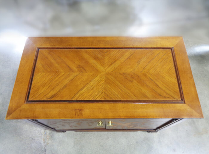 Asian Style Inlaid Wood Two Door Cabinet