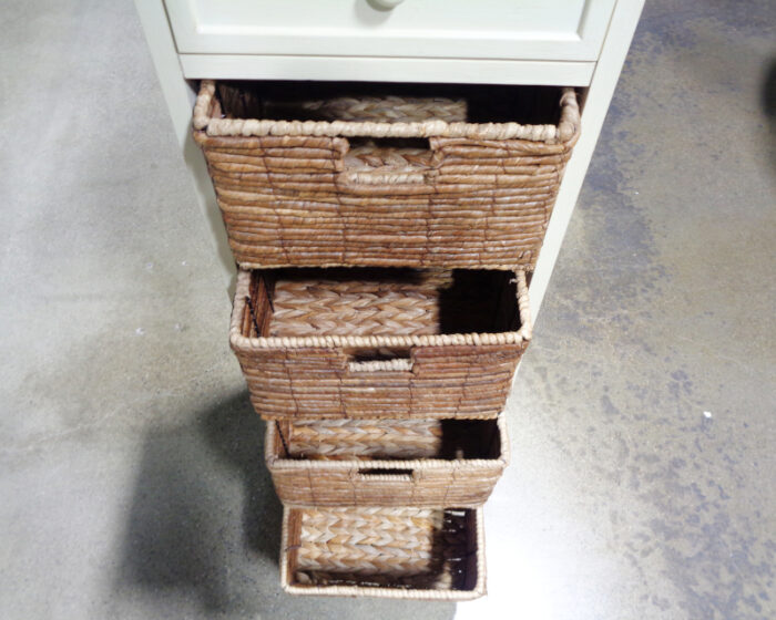 White Painted Storage Cabinet with Wicker Baskets
