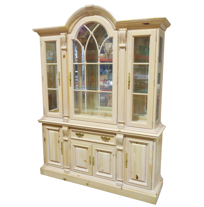 Pine china cabinet with three glass doors, one drawer, and four doors. Glass shelving.