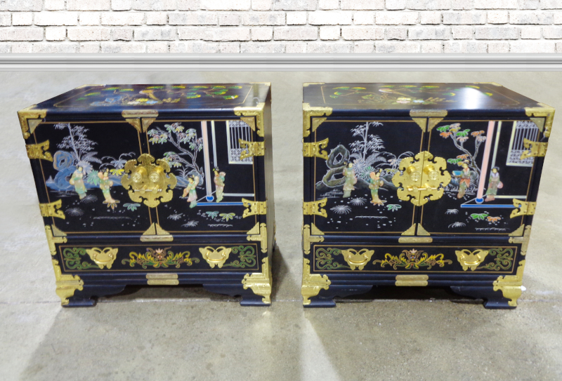 Pair of Asian style chests with brass accents. Two doors over one drawer.
