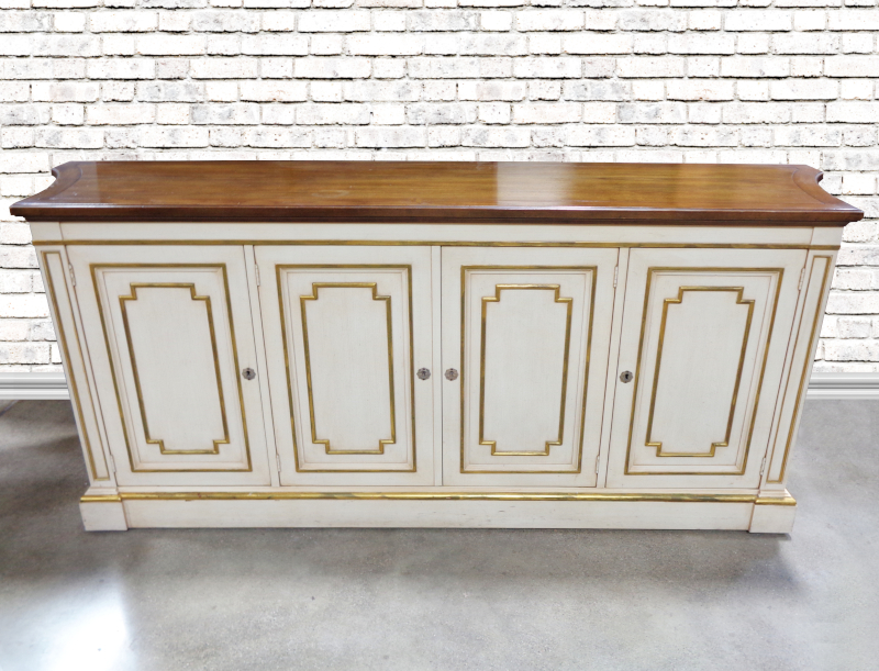 Kindel, gold and white painted buffet
