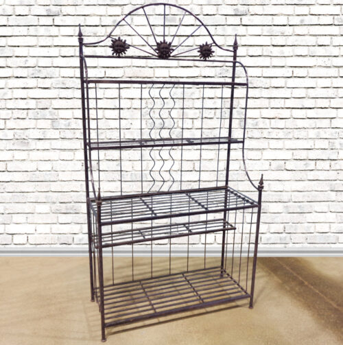 Black painted metal baker's rack with five shelves.