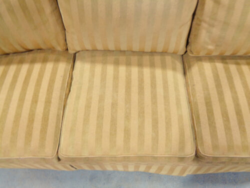 Brown Stripe Upholstered Six-Cushion Sofa