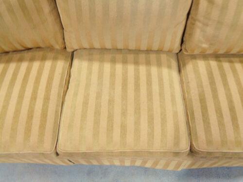 Brown Stripe Upholstered Six-Cushion Sofa