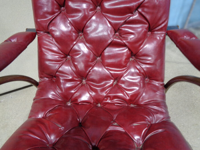 Woodard Red Vinyl Tufted Rocking Chair with Metal Frame
