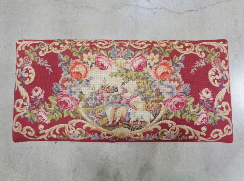 Burgundy and Cream Floral Upholstered Bench