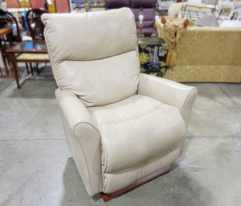 Beige Leather Electric Lounge Chair