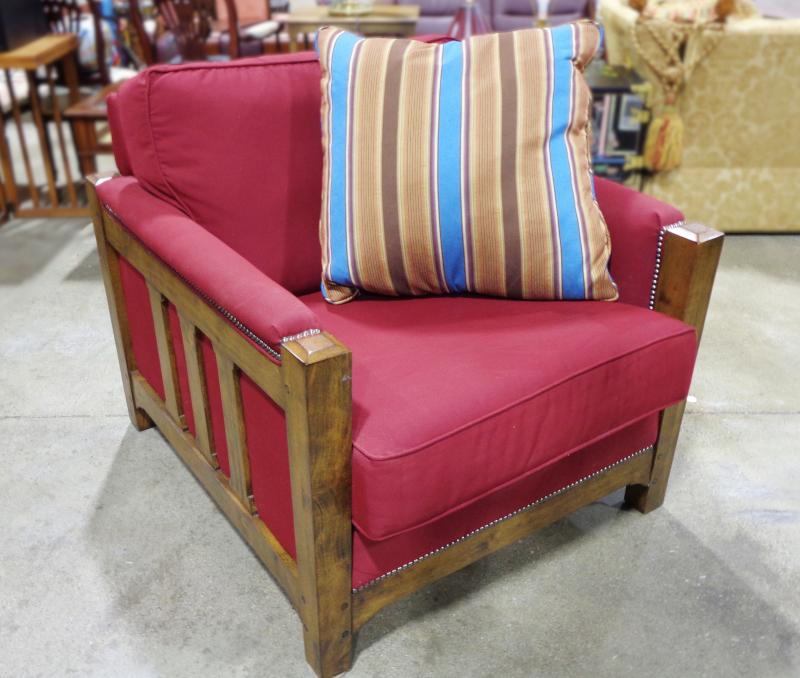 Flexsteel, Mission-style burgundy upholstered armchair.