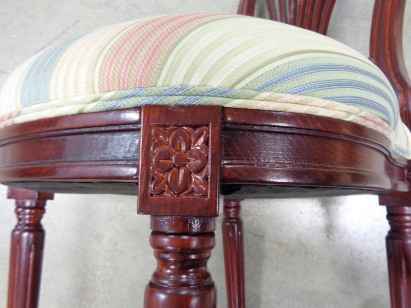 Set of eight mahogany lacquered chairs