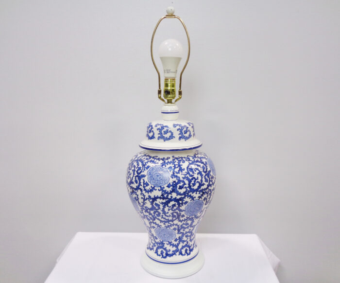 Blue and White Floral Pattern Ceramic Table Lamp