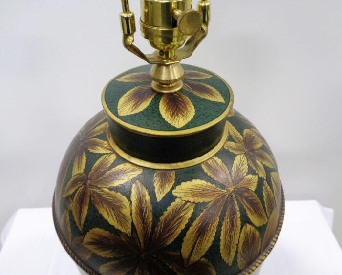 Floral Painted Tin Table Lamp