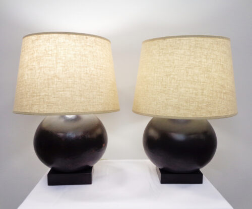 Pair of Black Metal Spherical Lamps