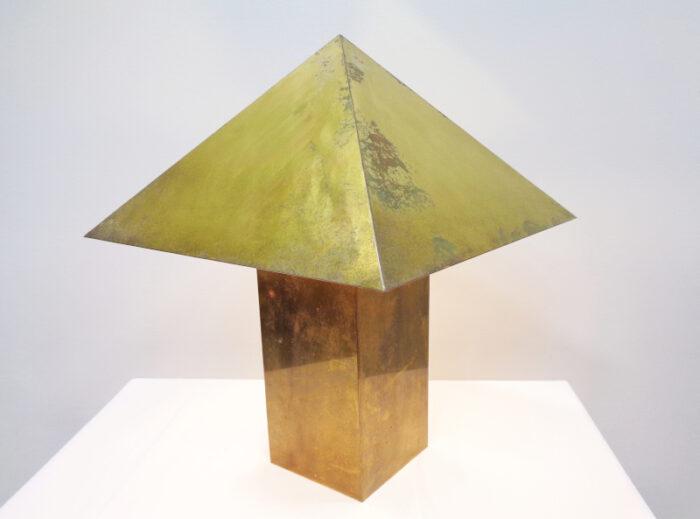 Brass square column table lamp.