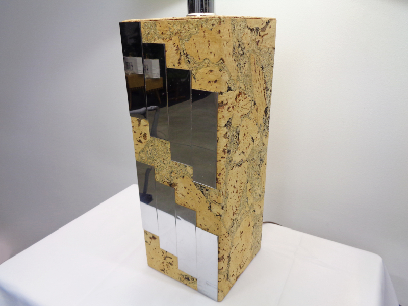 Cork square column table lamp with cream shade.