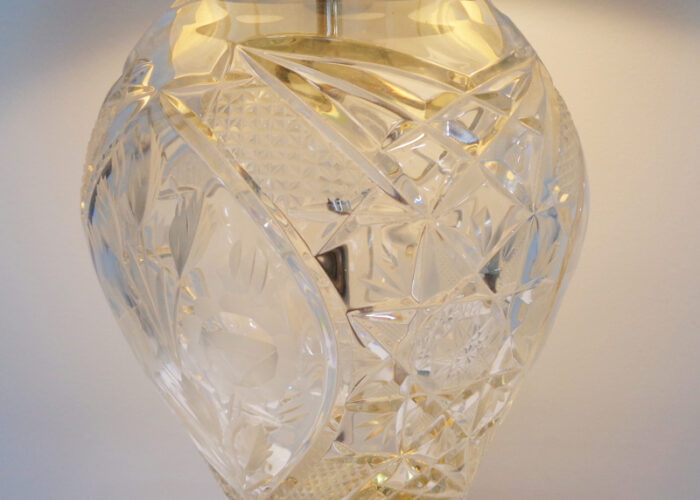 Crystal and Brass Table Lamp with Cream Shade