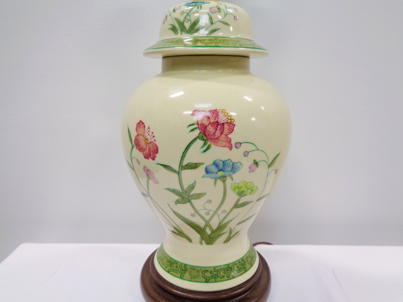Ceramic Urn-Form Asian Style Table Lamp with Cream Shade