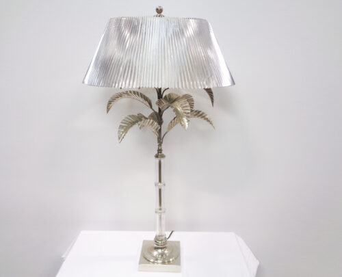 Metal and Glass Palm Tree Lamp