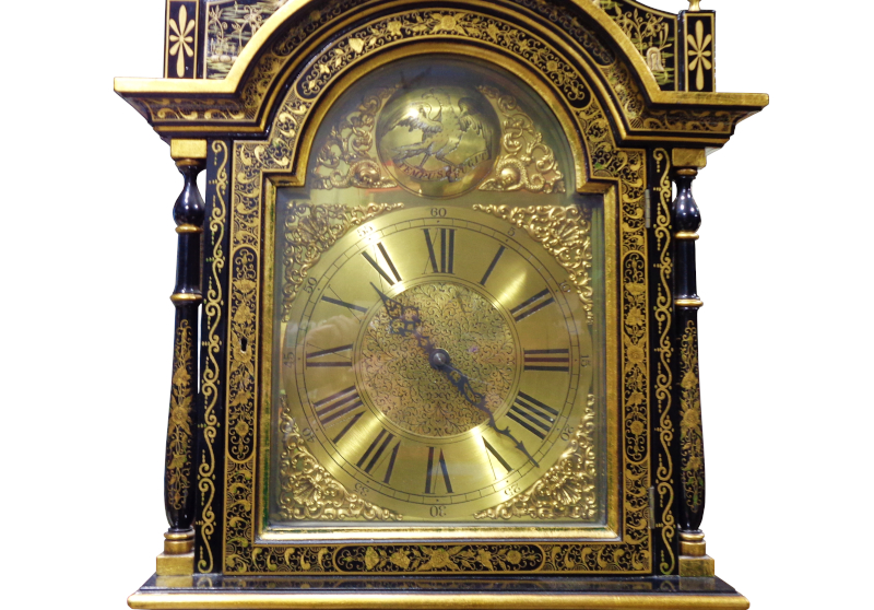 Black and Gold Chinoiserie Grandfather Clock.