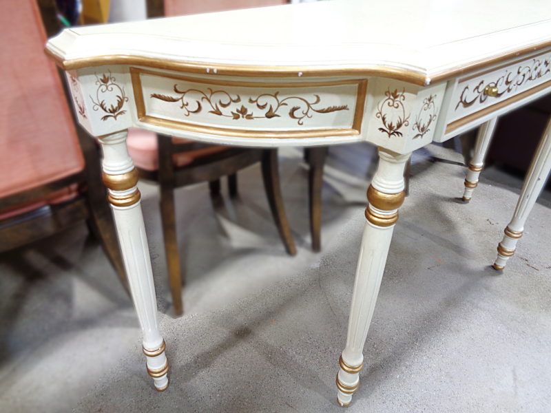 Cream and gold crackle painted console table with one drawer.