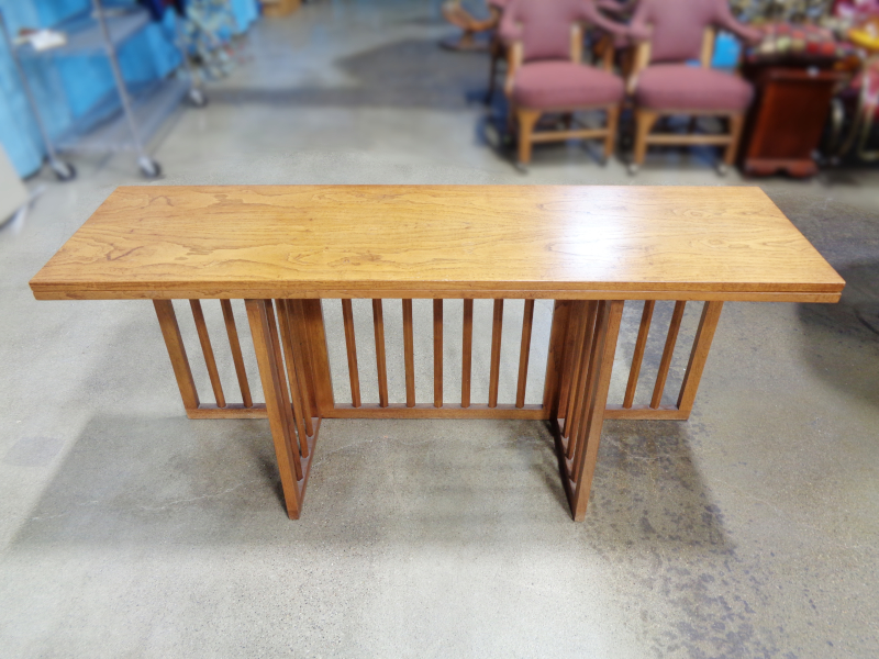 Modern wood flip-top table with gate leg.