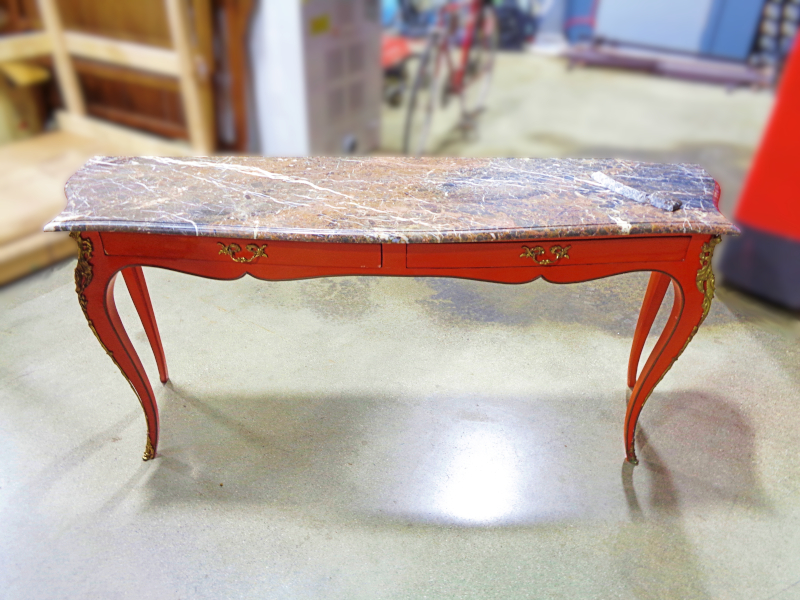 Red orange painted sofa table with marble top