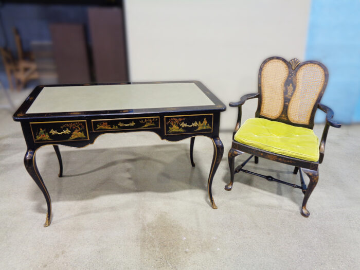 Lady's black painted chinoiserie style writing desk