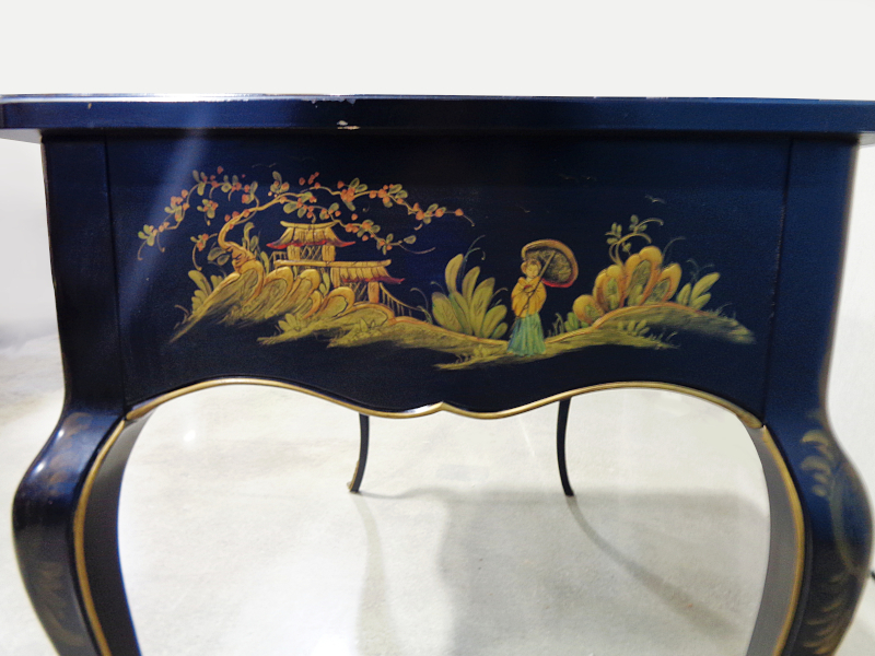 Lady's black painted chinoiserie style writing desk with