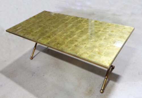 Made in the Philippines, brass bamboo style coffee table.