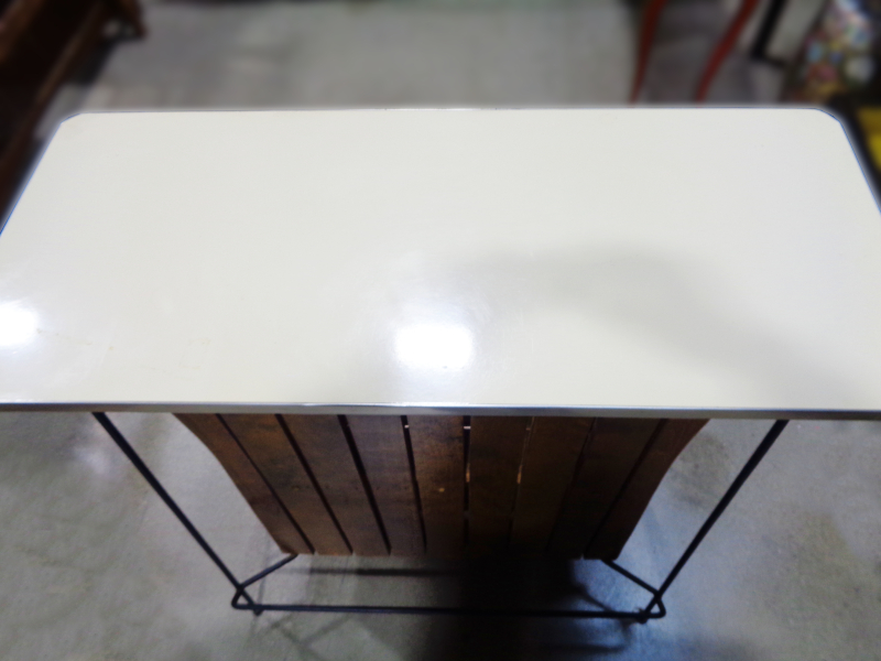 1950s wood, Formica, and iron bar.