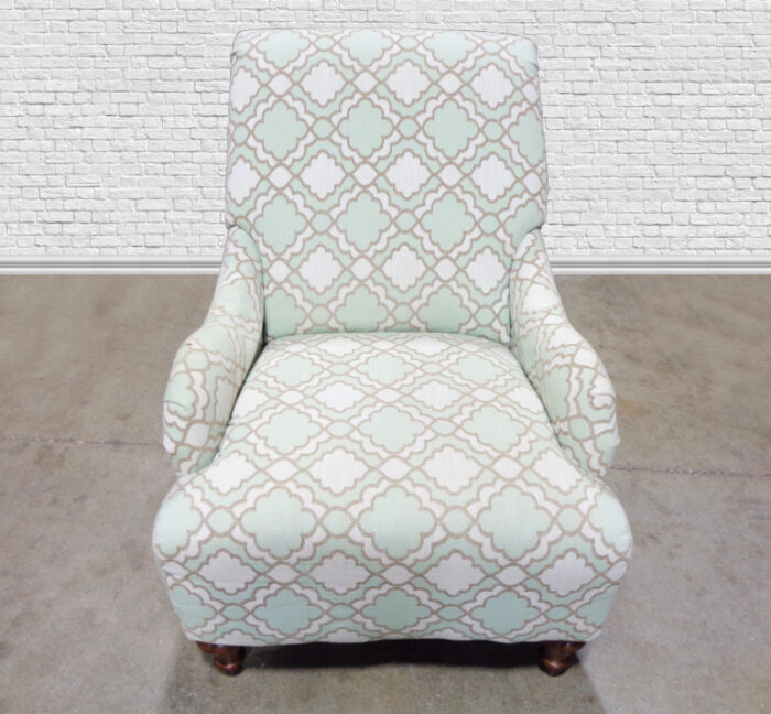 Green & White Upholstered Chair with Ottoman