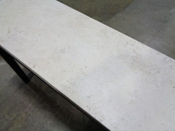 Travertine Top Sofa Table on Black Painted Steel Base