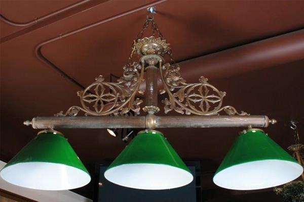 American Victorian Green Glass Billiard Light