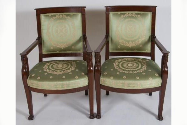 Pair Empire Mahogany Fauteuils Chairs