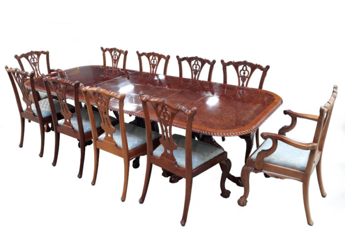 Mahogany Dining Set with Chippendale Style Chairs