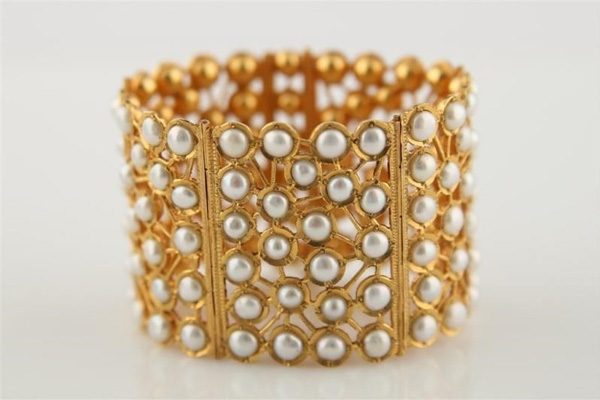 22k Yellow Gold Wide Cuff Bracelet with Pearls.
