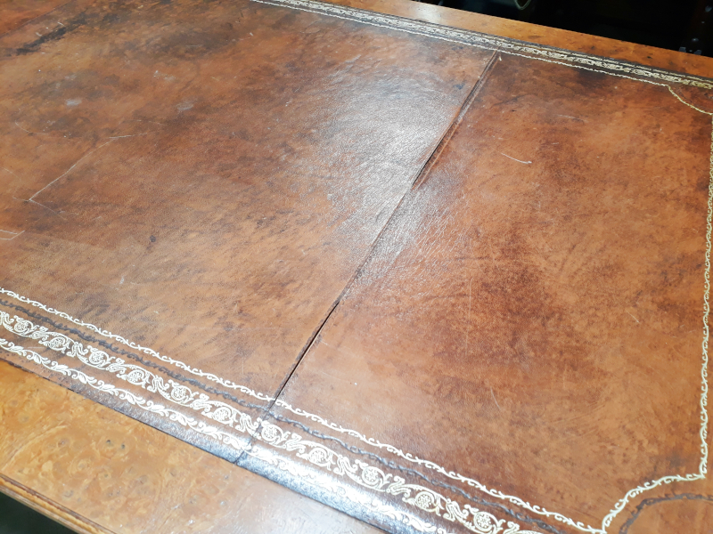 Burled Walnut & Leather Top Writing Desk